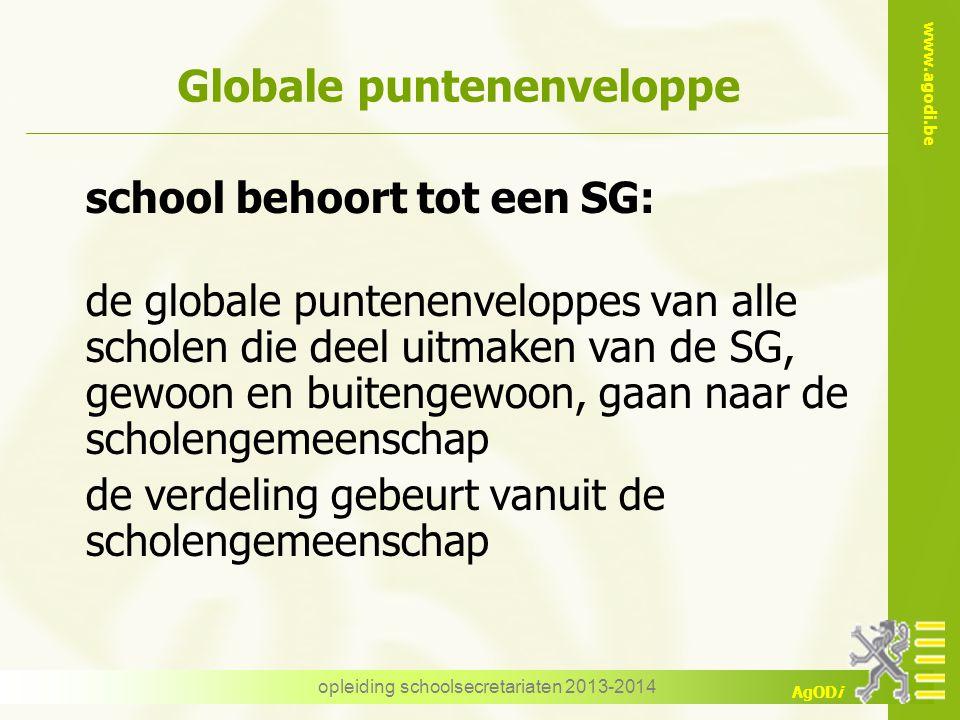 www.agodi.be AgODi opleiding schoolsecretariaten 2013-2014 Globale puntenenveloppe school behoort tot een SG: de globale puntenenveloppes van alle sch