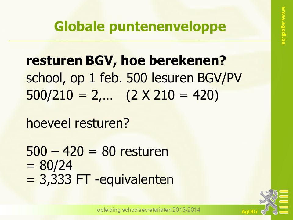 www.agodi.be AgODi opleiding schoolsecretariaten 2013-2014 Globale puntenenveloppe resturen BGV, hoe berekenen? school, op 1 feb. 500 lesuren BGV/PV 5