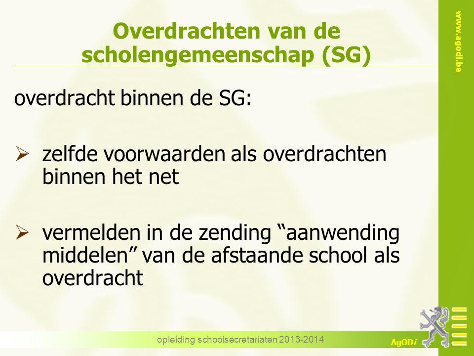 www.agodi.be AgODi opleiding schoolsecretariaten 2013-2014 Overdrachten van de scholengemeenschap (SG) overdracht binnen de SG:  zelfde voorwaarden a
