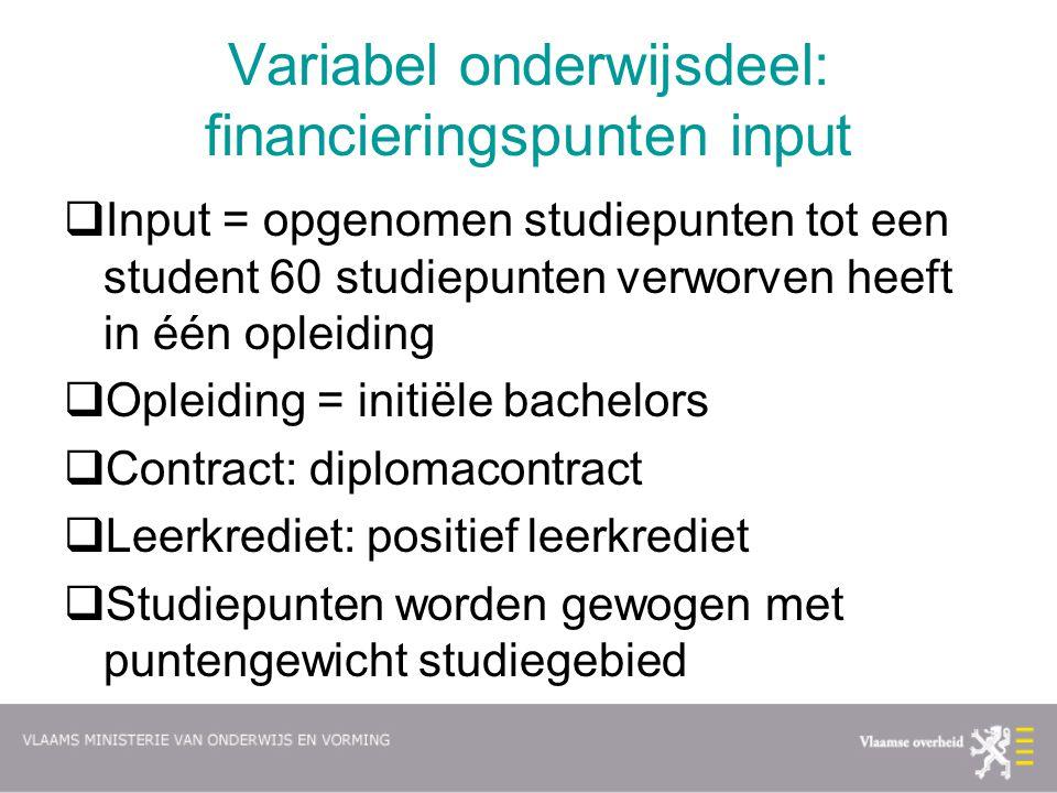 Variabel onderwijsdeel: financieringspunten input  Input = opgenomen studiepunten tot een student 60 studiepunten verworven heeft in één opleiding 