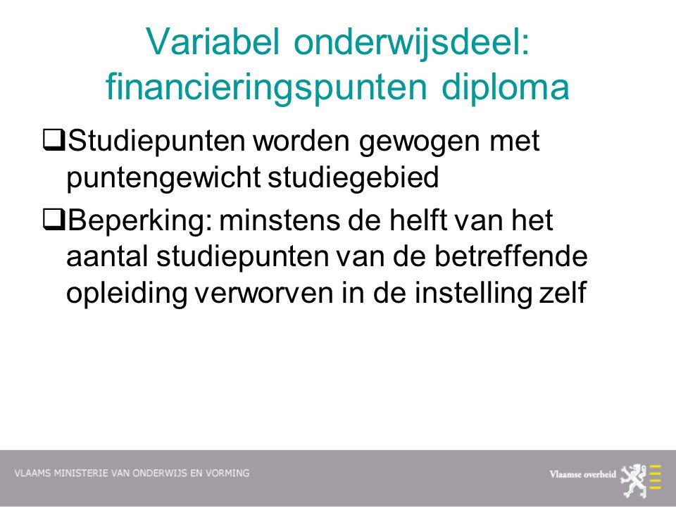 Variabel onderwijsdeel: financieringspunten diploma  Studiepunten worden gewogen met puntengewicht studiegebied  Beperking: minstens de helft van he