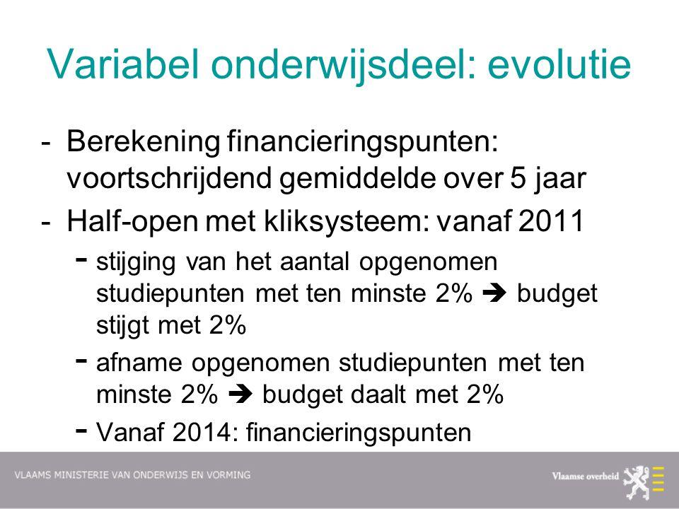Variabel onderwijsdeel: evolutie -Berekening financieringspunten: voortschrijdend gemiddelde over 5 jaar -Half-open met kliksysteem: vanaf 2011 - stij