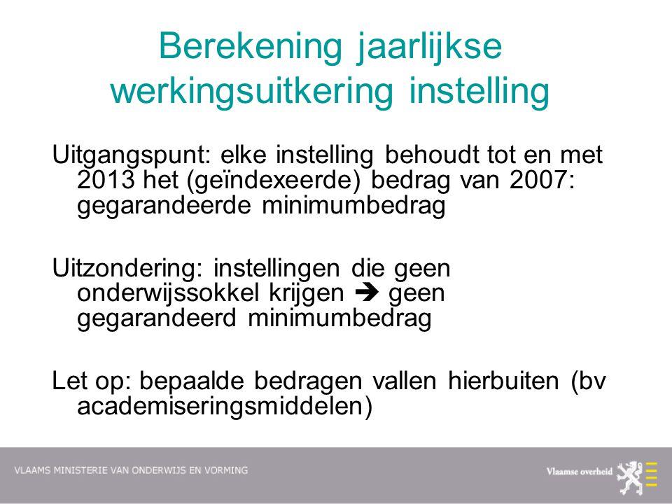 Berekening jaarlijkse werkingsuitkering instelling Uitgangspunt: elke instelling behoudt tot en met 2013 het (geïndexeerde) bedrag van 2007: gegarande