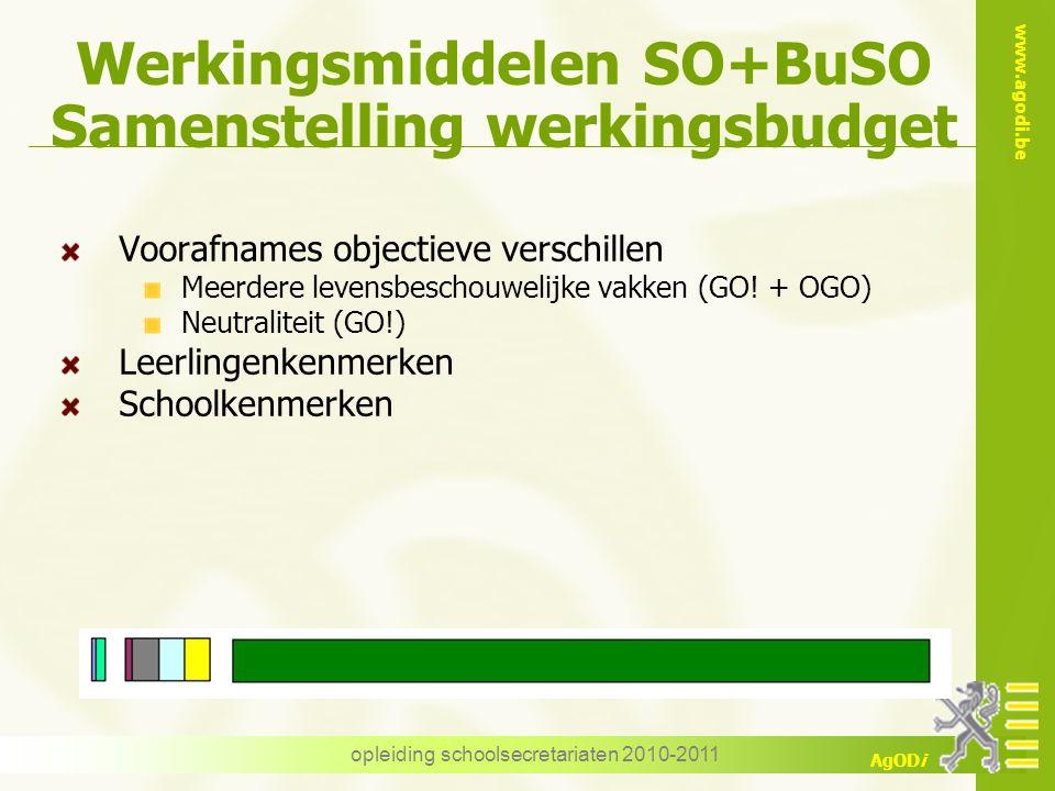www.agodi.be AgODi opleiding schoolsecretariaten 2010-2011 Werkingsmiddelen SO+BuSO Samenstelling werkingsbudget Voorafnames objectieve verschillen Me