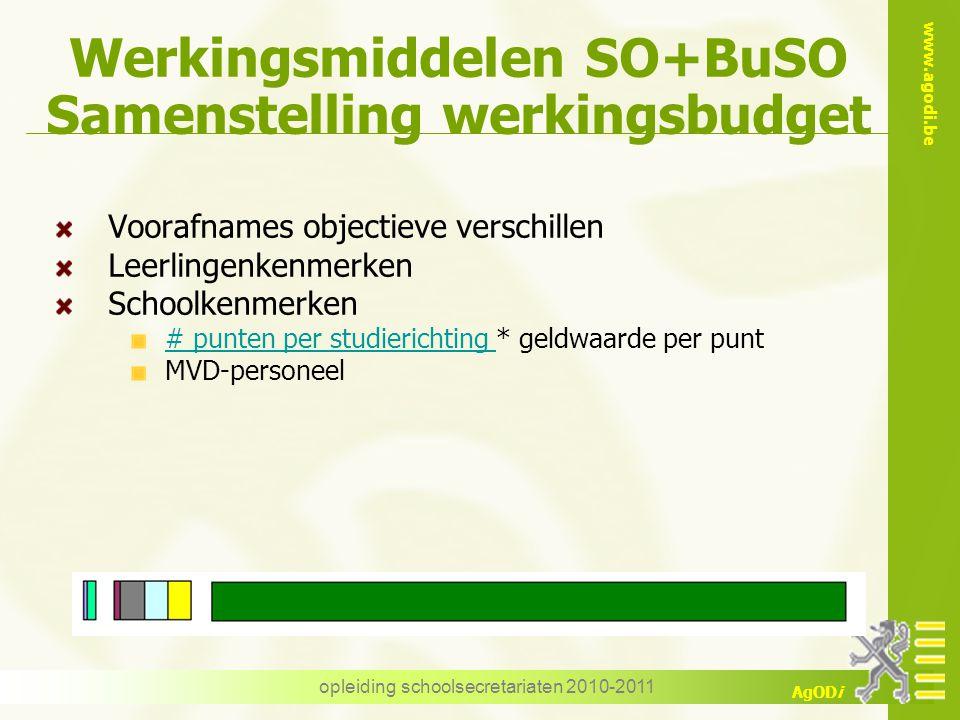 www.agodi.be AgODi opleiding schoolsecretariaten 2010-2011 Werkingsmiddelen SO+BuSO Samenstelling werkingsbudget Voorafnames objectieve verschillen Le