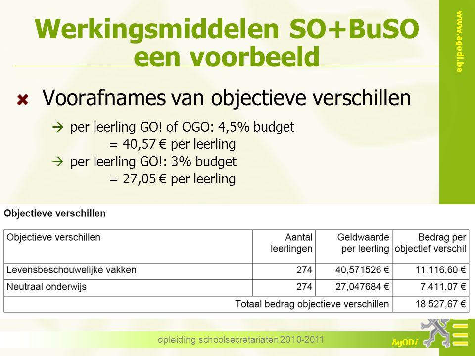 www.agodi.be AgODi opleiding schoolsecretariaten 2010-2011 Werkingsmiddelen SO+BuSO een voorbeeld Voorafnames van objectieve verschillen  per leerlin