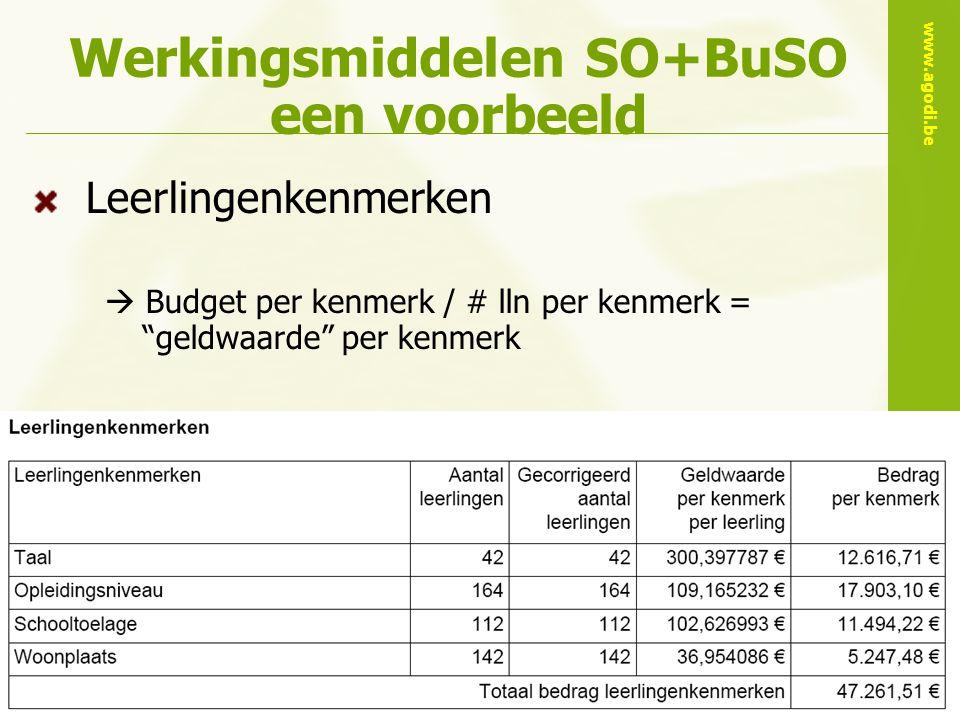 www.agodi.be AgODi opleiding schoolsecretariaten 2010-2011 Werkingsmiddelen SO+BuSO een voorbeeld Leerlingenkenmerken  Budget per kenmerk / # lln per