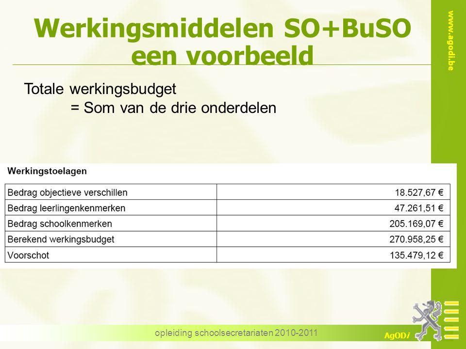 www.agodi.be AgODi opleiding schoolsecretariaten 2010-2011 Werkingsmiddelen SO+BuSO een voorbeeld Totale werkingsbudget = Som van de drie onderdelen