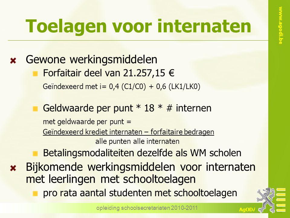 www.agodi.be AgODi opleiding schoolsecretariaten 2010-2011 Toelagen voor internaten Gewone werkingsmiddelen Forfaitair deel van 21.257,15 € Geïndexeer