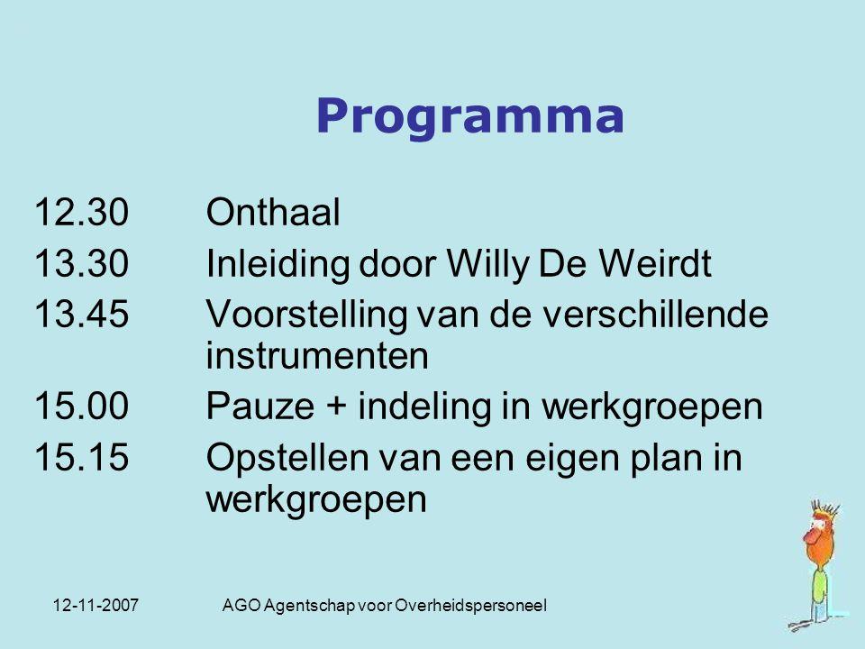 12-11-2007 AGO Agentschap voor Overheidspersoneel Programma 12.30 Onthaal 13.30 Inleiding door Willy De Weirdt 13.45 Voorstelling van de verschillende