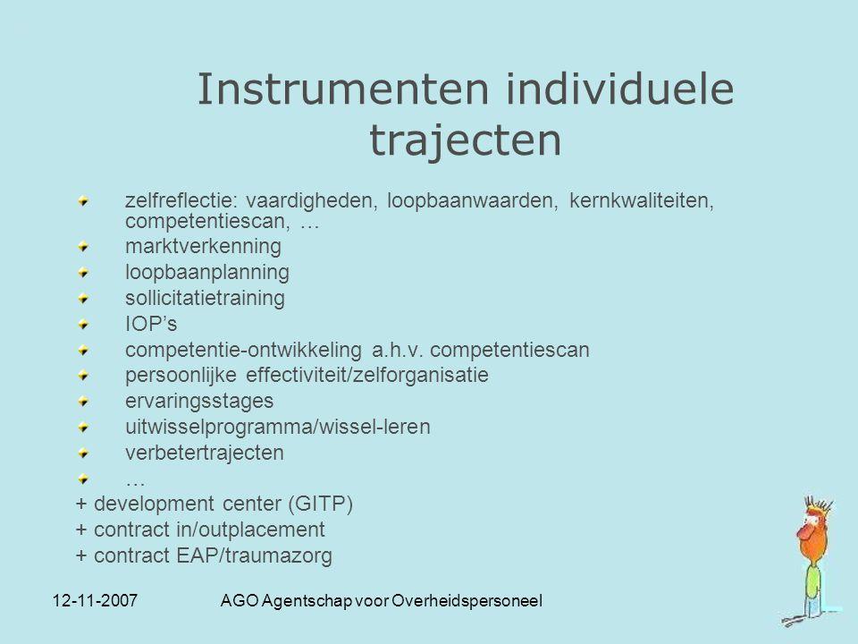12-11-2007 AGO Agentschap voor Overheidspersoneel Instrumenten individuele trajecten zelfreflectie: vaardigheden, loopbaanwaarden, kernkwaliteiten, co