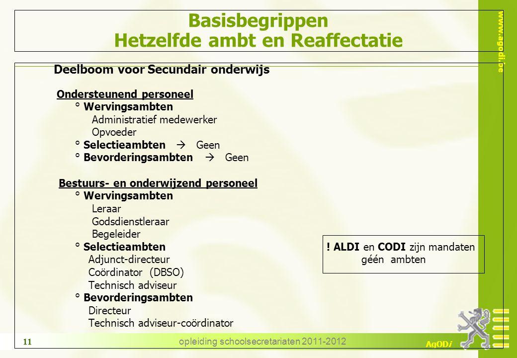 www.agodi.be AgODi opleiding schoolsecretariaten 2011-2012 11 Basisbegrippen Hetzelfde ambt en Reaffectatie Deelboom voor Secundair onderwijs Onderste