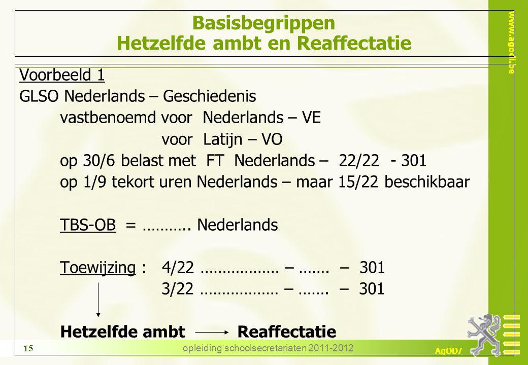 www.agodi.be AgODi opleiding schoolsecretariaten 2011-2012 15 Basisbegrippen Hetzelfde ambt en Reaffectatie Voorbeeld 1 GLSO Nederlands – Geschiedenis