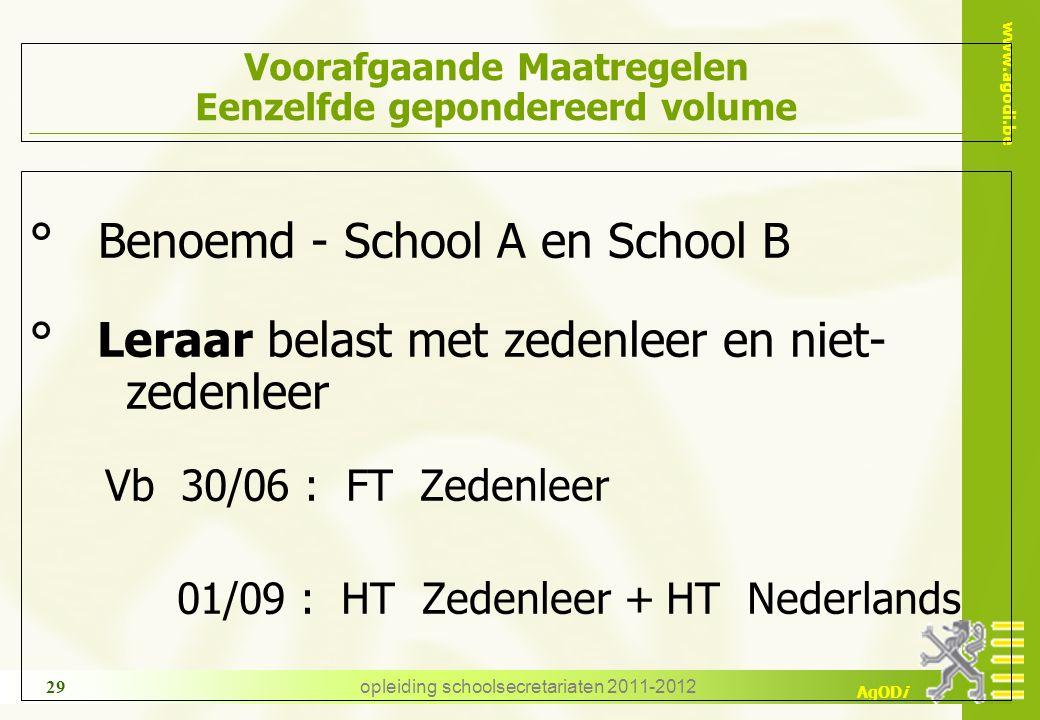 www.agodi.be AgODi opleiding schoolsecretariaten 2011-2012 29 Voorafgaande Maatregelen Eenzelfde gepondereerd volume ° Benoemd - School A en School B
