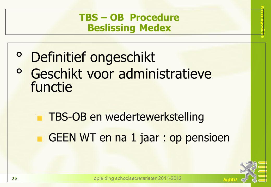www.agodi.be AgODi opleiding schoolsecretariaten 2011-2012 35 TBS – OB Procedure Beslissing Medex ° Definitief ongeschikt ° Geschikt voor administrati