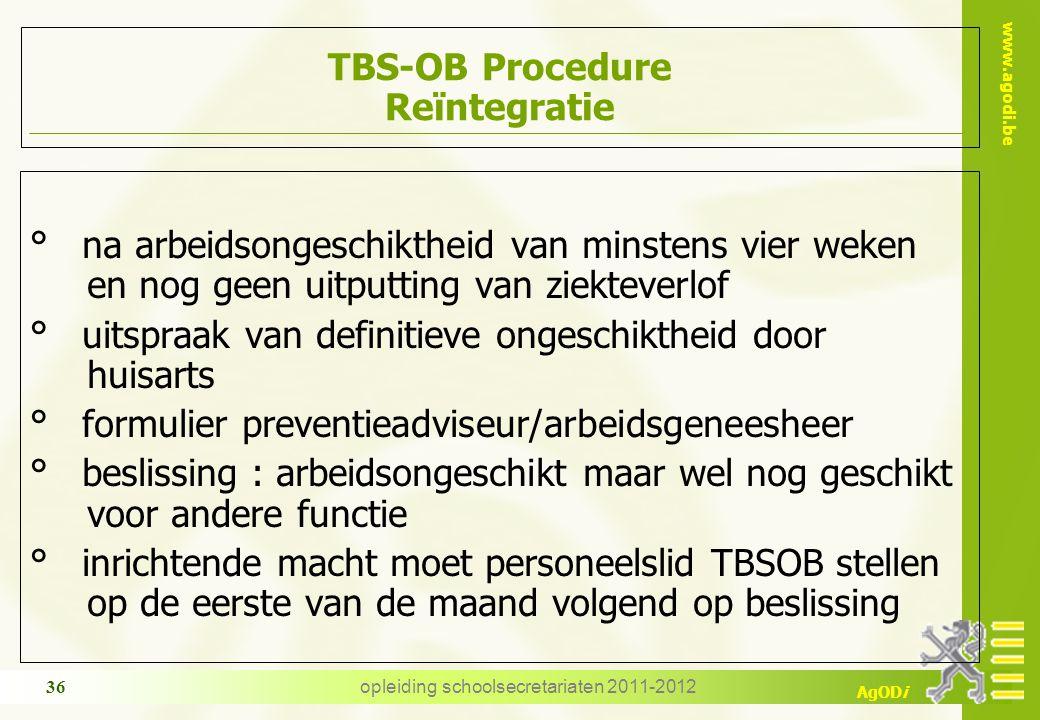 www.agodi.be AgODi opleiding schoolsecretariaten 2011-2012 36 TBS-OB Procedure Reïntegratie ° na arbeidsongeschiktheid van minstens vier weken en nog