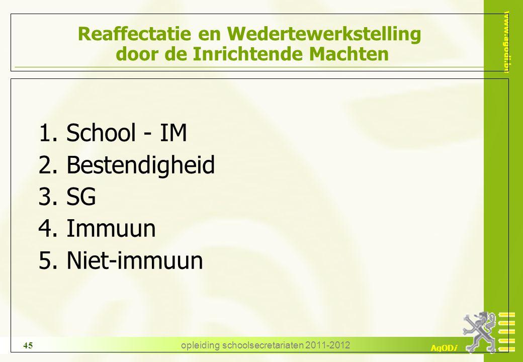 www.agodi.be AgODi opleiding schoolsecretariaten 2011-2012 45 Reaffectatie en Wedertewerkstelling door de Inrichtende Machten 1. School - IM 2. Besten