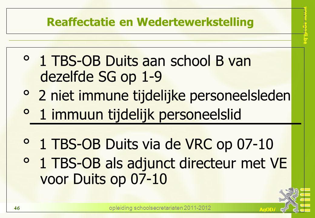 www.agodi.be AgODi opleiding schoolsecretariaten 2011-2012 46 Reaffectatie en Wedertewerkstelling ° 1 TBS-OB Duits aan school B van dezelfde SG op 1-9
