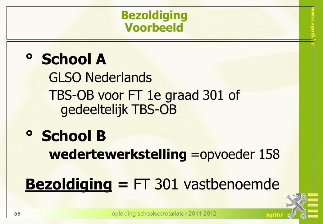 www.agodi.be AgODi opleiding schoolsecretariaten 2011-2012 65 Bezoldiging Voorbeeld ° School A GLSO Nederlands TBS-OB voor FT 1e graad 301 of gedeelte