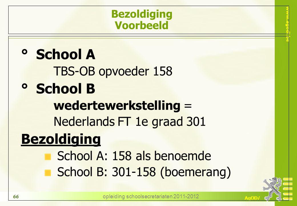 www.agodi.be AgODi opleiding schoolsecretariaten 2011-2012 66 Bezoldiging Voorbeeld ° School A TBS-OB opvoeder 158 ° School B wedertewerkstelling = Ne