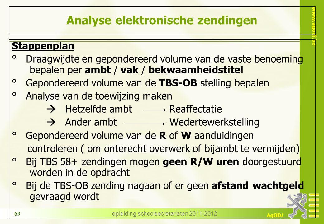 www.agodi.be AgODi opleiding schoolsecretariaten 2011-2012 69 Analyse elektronische zendingen Stappenplan ° Draagwijdte en gepondereerd volume van de