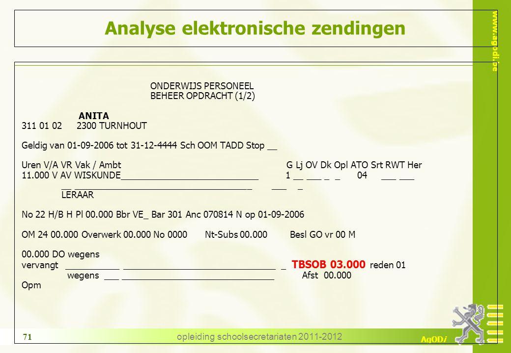 www.agodi.be AgODi opleiding schoolsecretariaten 2011-2012 71 Analyse elektronische zendingen ONDERWIJS PERSONEEL BEHEER OPDRACHT (1/2) ANITA 311 01 0