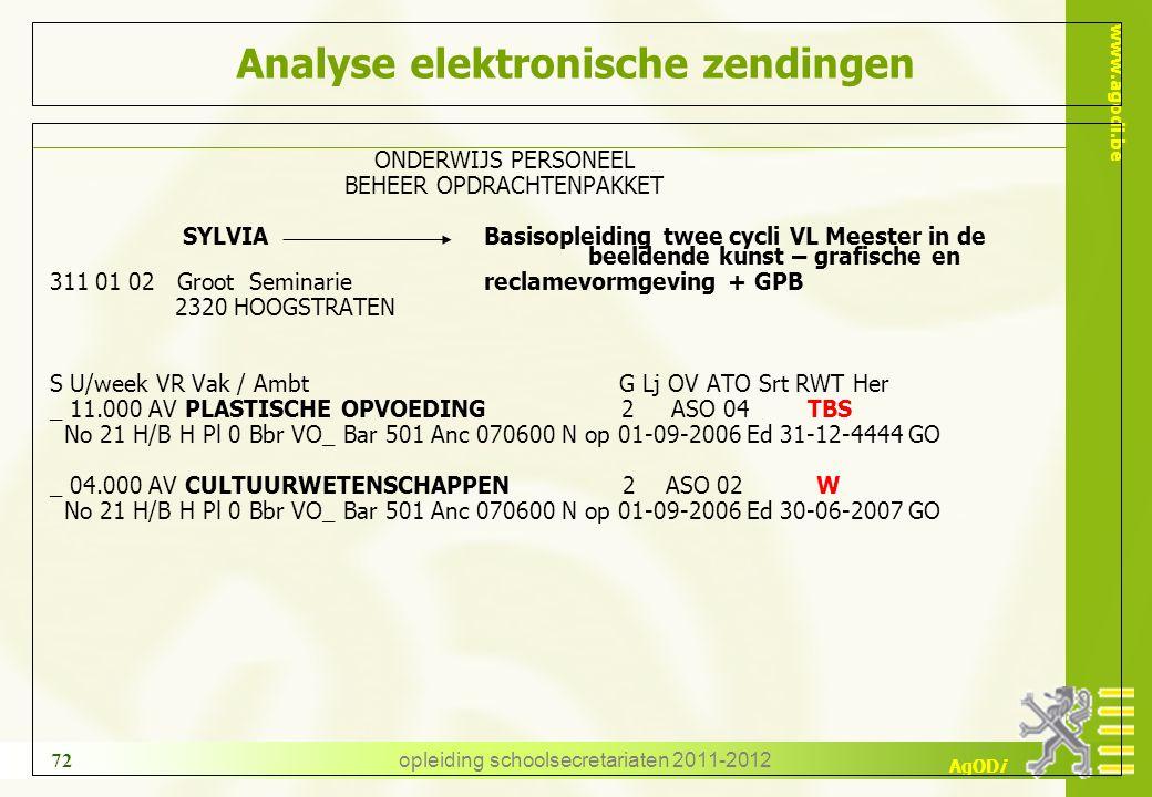 www.agodi.be AgODi opleiding schoolsecretariaten 2011-2012 72 Analyse elektronische zendingen ONDERWIJS PERSONEEL BEHEER OPDRACHTENPAKKET SYLVIA Basis