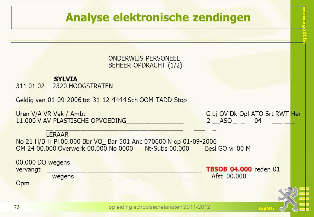 www.agodi.be AgODi opleiding schoolsecretariaten 2011-2012 73 Analyse elektronische zendingen ONDERWIJS PERSONEEL BEHEER OPDRACHT (1/2) SYLVIA 311 01