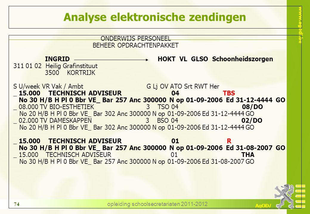 www.agodi.be AgODi opleiding schoolsecretariaten 2011-2012 74 Analyse elektronische zendingen ONDERWIJS PERSONEEL BEHEER OPDRACHTENPAKKET INGRID HOKT
