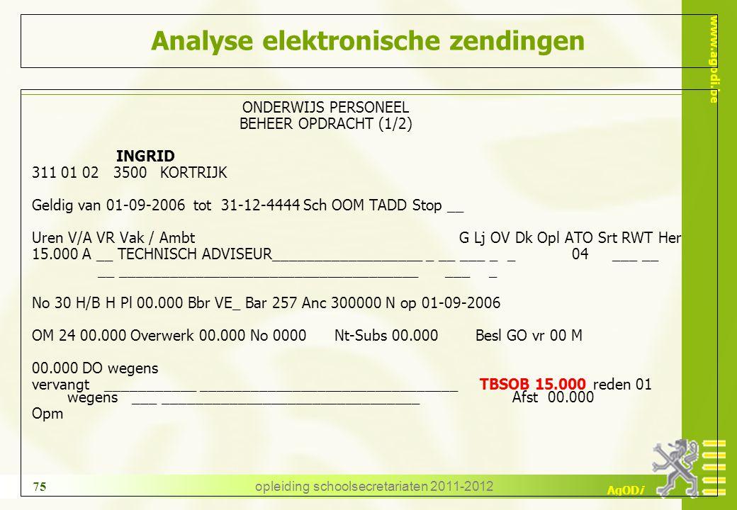 www.agodi.be AgODi opleiding schoolsecretariaten 2011-2012 75 Analyse elektronische zendingen ONDERWIJS PERSONEEL BEHEER OPDRACHT (1/2) INGRID 311 01
