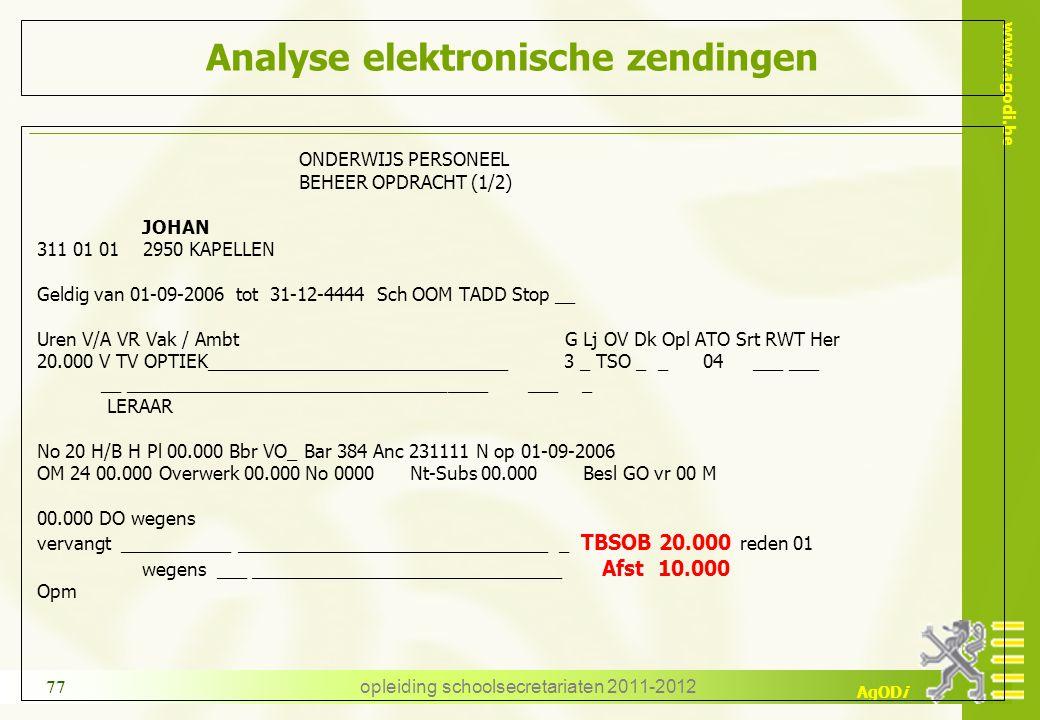 www.agodi.be AgODi opleiding schoolsecretariaten 2011-2012 77 Analyse elektronische zendingen ONDERWIJS PERSONEEL BEHEER OPDRACHT (1/2) JOHAN 311 01 0