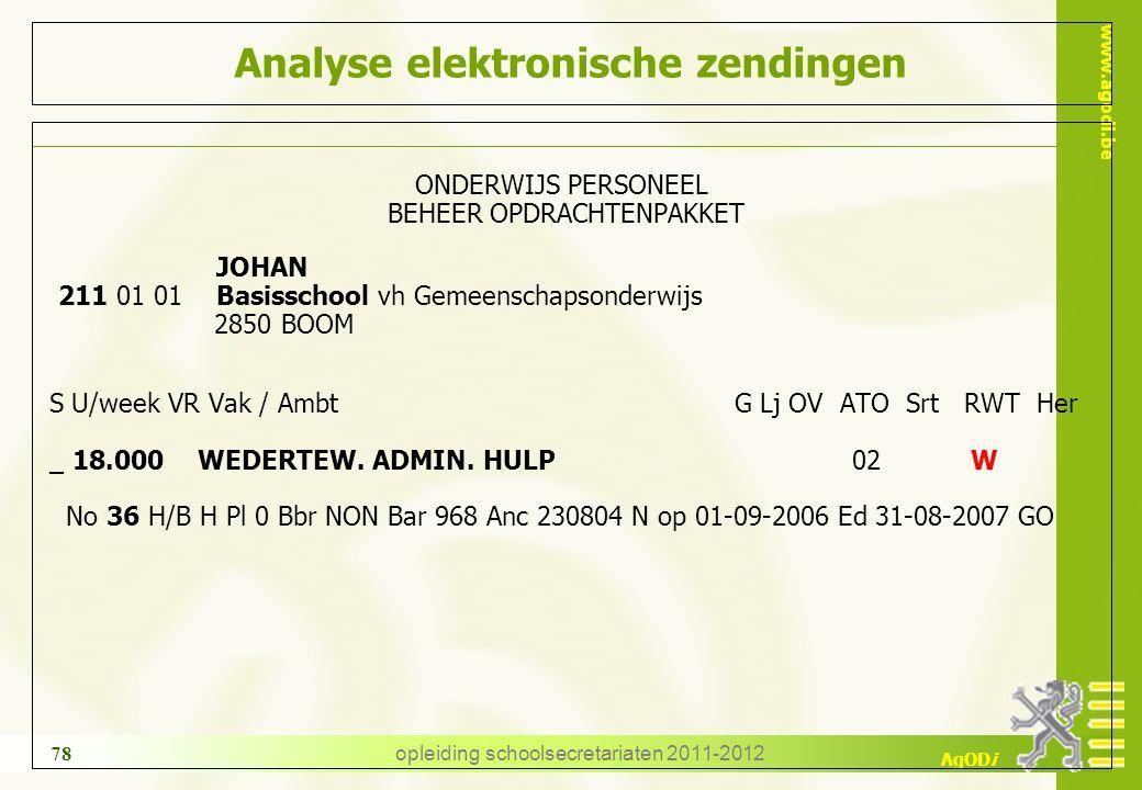 www.agodi.be AgODi opleiding schoolsecretariaten 2011-2012 78 Analyse elektronische zendingen ONDERWIJS PERSONEEL BEHEER OPDRACHTENPAKKET JOHAN 211 01