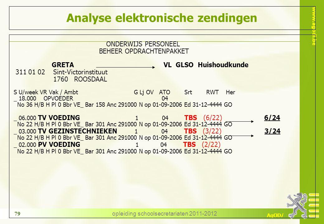 www.agodi.be AgODi opleiding schoolsecretariaten 2011-2012 79 Analyse elektronische zendingen ONDERWIJS PERSONEEL BEHEER OPDRACHTENPAKKET GRETA VL GLS