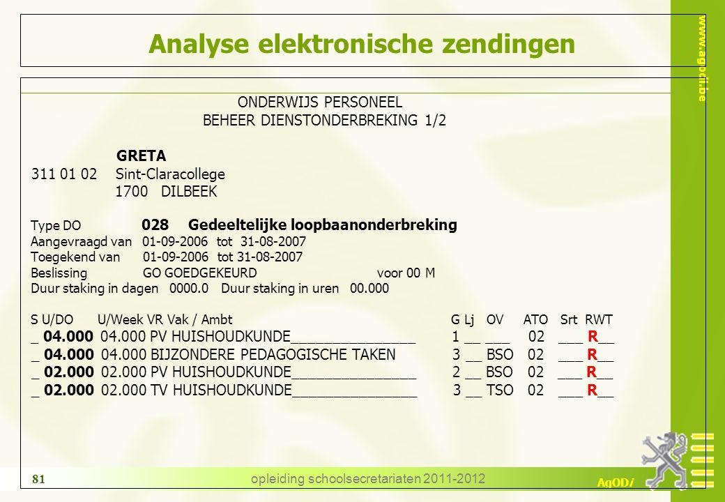 www.agodi.be AgODi opleiding schoolsecretariaten 2011-2012 81 Analyse elektronische zendingen ONDERWIJS PERSONEEL BEHEER DIENSTONDERBREKING 1/2 GRETA