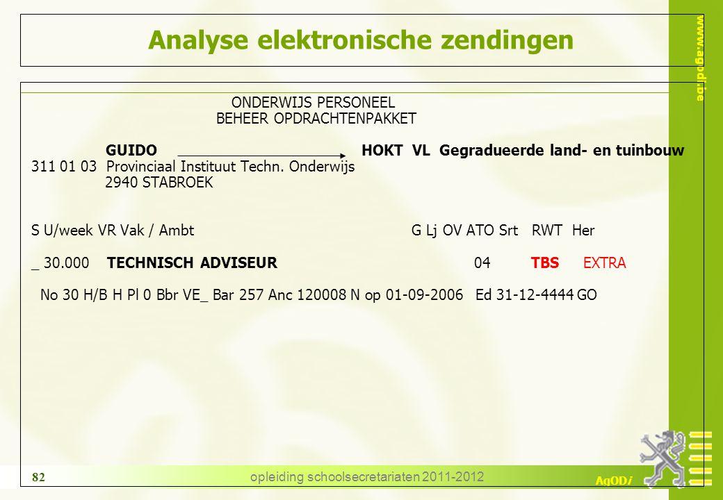 www.agodi.be AgODi opleiding schoolsecretariaten 2011-2012 82 Analyse elektronische zendingen ONDERWIJS PERSONEEL BEHEER OPDRACHTENPAKKET GUIDO HOKT V