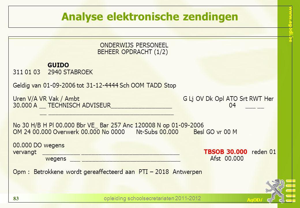 www.agodi.be AgODi opleiding schoolsecretariaten 2011-2012 83 Analyse elektronische zendingen ONDERWIJS PERSONEEL BEHEER OPDRACHT (1/2) GUIDO 311 01 0
