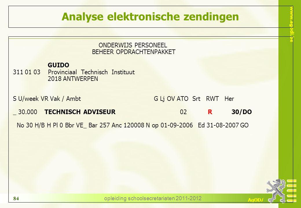 www.agodi.be AgODi opleiding schoolsecretariaten 2011-2012 84 Analyse elektronische zendingen ONDERWIJS PERSONEEL BEHEER OPDRACHTENPAKKET GUIDO 311 01