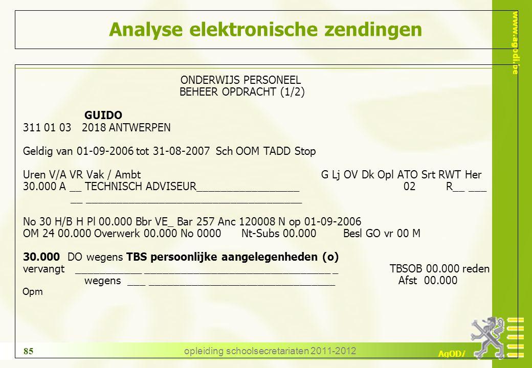 www.agodi.be AgODi opleiding schoolsecretariaten 2011-2012 85 Analyse elektronische zendingen ONDERWIJS PERSONEEL BEHEER OPDRACHT (1/2) GUIDO 311 01 0