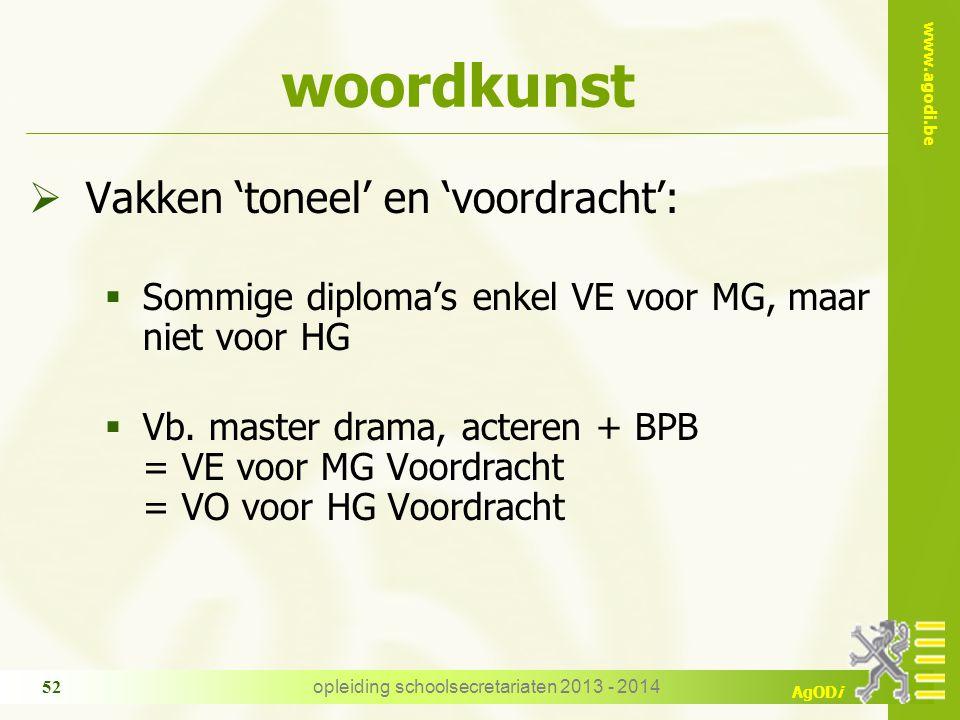 www.agodi.be AgODi woordkunst  Vakken 'toneel' en 'voordracht':  Sommige diploma's enkel VE voor MG, maar niet voor HG  Vb.