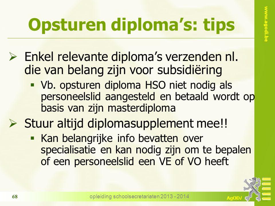 www.agodi.be AgODi Opsturen diploma's: tips  Enkel relevante diploma's verzenden nl.