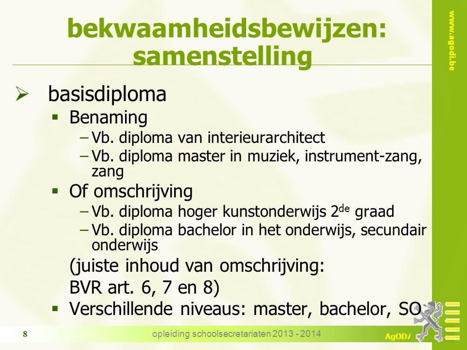 www.agodi.be AgODi opleiding schoolsecretariaten 2013 - 2014 8 bekwaamheidsbewijzen: samenstelling  basisdiploma  Benaming −Vb.