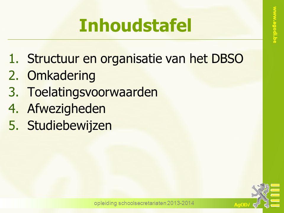 www.agodi.be AgODi opleiding schoolsecretariaten 2013-2014 Inhoudstafel 1.Structuur en organisatie van het DBSO 2.Omkadering 3.Toelatingsvoorwaarden 4.Afwezigheden 5.Studiebewijzen