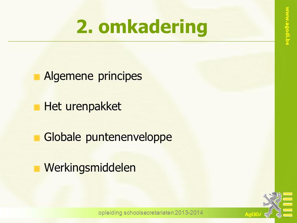 www.agodi.be AgODi 2. omkadering Algemene principes Het urenpakket Globale puntenenveloppe Werkingsmiddelen opleiding schoolsecretariaten 2013-2014