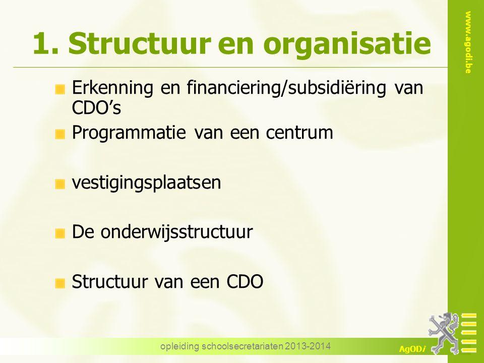 www.agodi.be AgODi opleiding schoolsecretariaten 2013-2014 1. Structuur en organisatie Erkenning en financiering/subsidiëring van CDO's Programmatie v