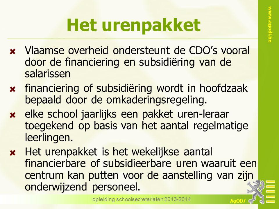 www.agodi.be AgODi Het urenpakket Vlaamse overheid ondersteunt de CDO's vooral door de financiering en subsidiëring van de salarissen financiering of subsidiëring wordt in hoofdzaak bepaald door de omkaderingsregeling.