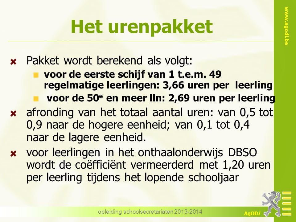 www.agodi.be AgODi Het urenpakket Pakket wordt berekend als volgt: voor de eerste schijf van 1 t.e.m.