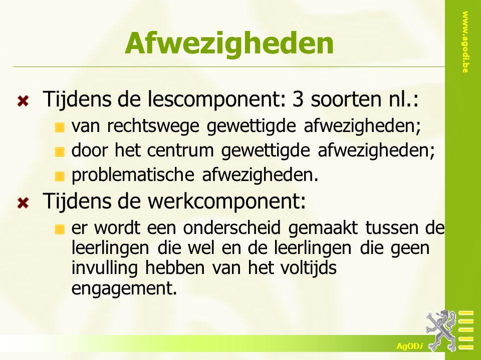 www.agodi.be AgODi Afwezigheden Tijdens de lescomponent: 3 soorten nl.: van rechtswege gewettigde afwezigheden; door het centrum gewettigde afwezigheden; problematische afwezigheden.