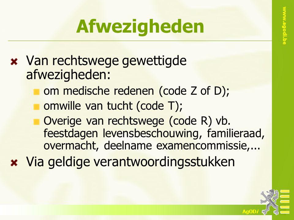 www.agodi.be AgODi Afwezigheden Van rechtswege gewettigde afwezigheden: om medische redenen (code Z of D); omwille van tucht (code T); Overige van rechtswege (code R) vb.