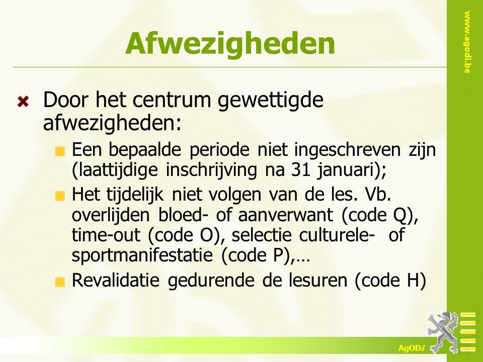 www.agodi.be AgODi Afwezigheden Door het centrum gewettigde afwezigheden: Een bepaalde periode niet ingeschreven zijn (laattijdige inschrijving na 31 januari); Het tijdelijk niet volgen van de les.