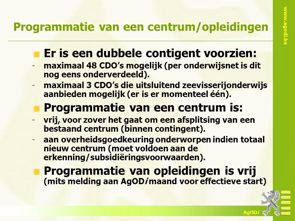 www.agodi.be AgODi Programmatie van een centrum/opleidingen Er is een dubbele contigent voorzien: -maximaal 48 CDO's mogelijk (per onderwijsnet is dit nog eens onderverdeeld).
